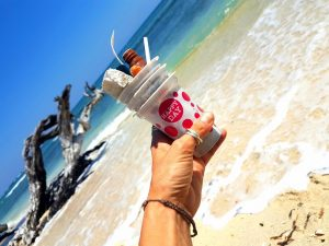 Take three pieces of trash every time you visit the sea. A cup full of trash